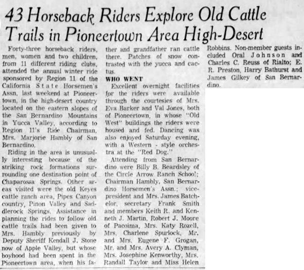 Jan. 31, 1960 - The San Bernardino County Sun article clipping