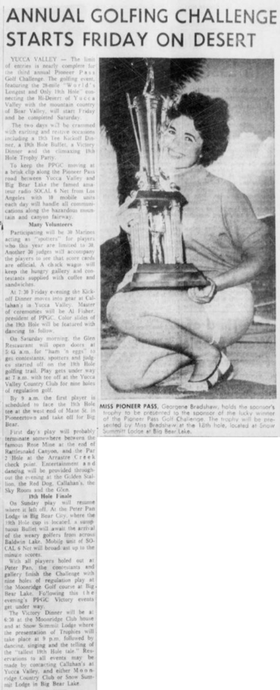 Oct. 4, 1961 - Annual golfing challenge starts Friday on desert clipping