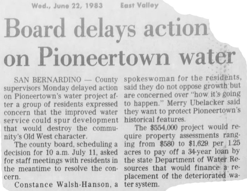 June 22, 1983 clipping = Pioneetown water